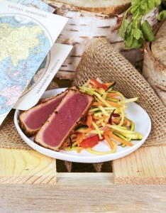Chili Seared Ahi Tuna over Julienne Vegetable Salad