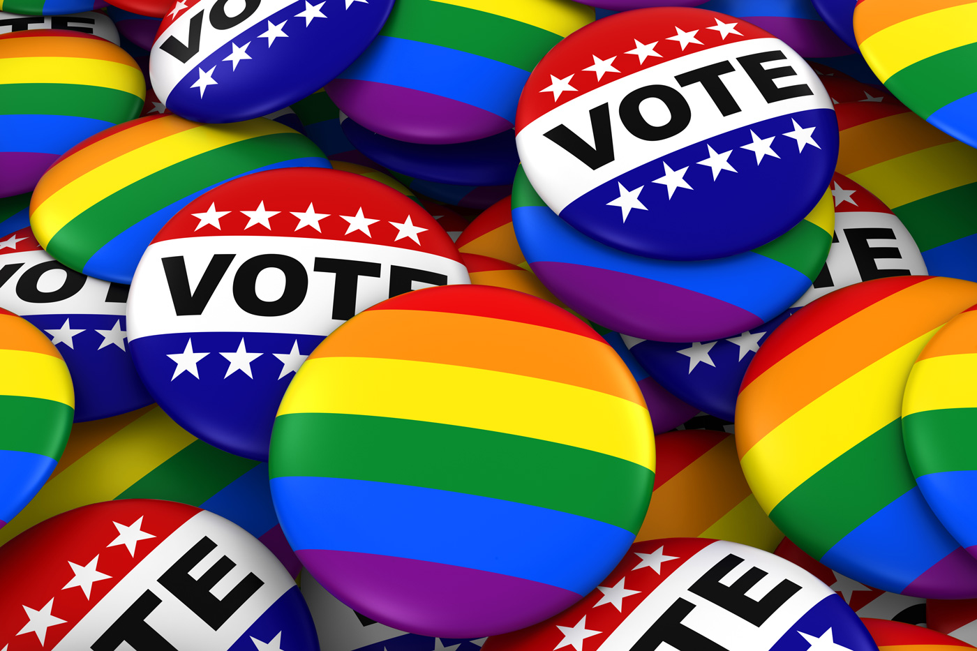 Vote for Gay Rights Concept – Gay Pride and Vote Badges 3D Illus
